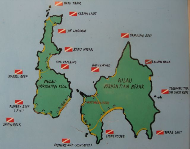 Perhentians Dive Sites Map